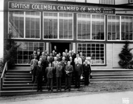 Vancouver Exhibition Association President W. Leek and group outside B.C. Chamber of Mines minera...