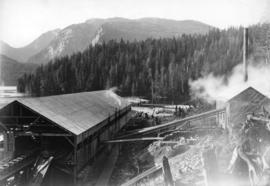 [A powerhouse and industrial building at Buntzen Lake]