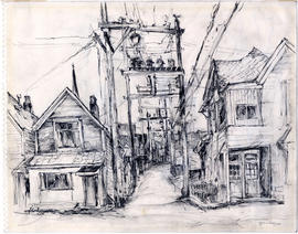 [Houses and hydro poles in alley, Vancouver, B.C.]