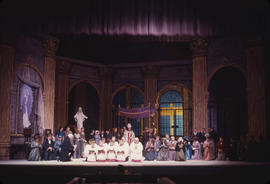 Performers on stage at Vancouver Opera's 1962 performance of Tosca, Act 1