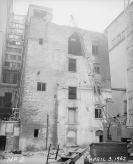 Old pan house (built 1890); Demolition of building (Merchants cartage); General views east and we...