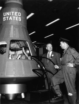 Pic of Red Knight, W.J. Borrie + capsule shown during Trade Fair 1961