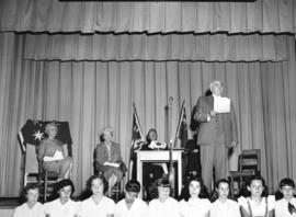 [Major J.S. Matthews speaks before the unveiling of a copy of a painting of Sir Charles Kingsford...