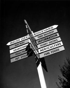 Signpost showing directions to various buildings on P.N.E. grounds