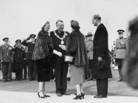 [His Worship and Mrs. Fred Hume greet HRH Queen Elizabeth and HRH Philip Duke of Edinburgh]
