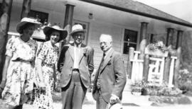 [L.D. Taylor, H.L. Corey, Dolores Corey and Margaret Duncan at the Seymour Creek intake building]