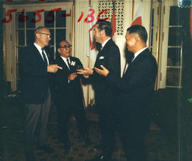 Yokohama Mayor I. Asukata, Vancouver Mayor Tom Campbell, and P.N.E. President H. Fairbank at P.N....