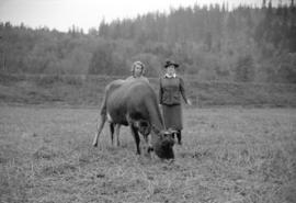 [Miss Gloria McIntoshe and Mrs. Roy McIntosh at Moy Hall Farm, Sumas]