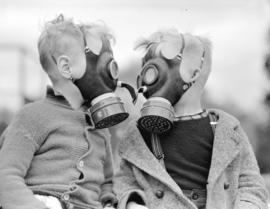 A.R.P. [boys wearing] gas masks