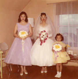 Bride Ella Wong, bridesmaid, and flower girl