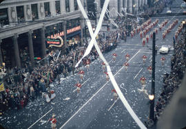 43rd Grey Cup Parade, on Granville Street at West Pender, cheerleaders, marching band , ticker ta...