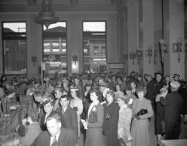 Bank of Montreal [showing] crowd in bank on Saturday morning