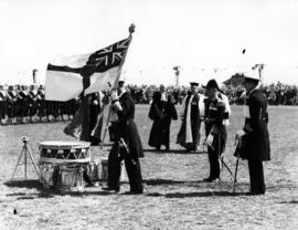 [Presentation of regimental colours during visit of King George VI and Queen Elizabeth at Beacon ...