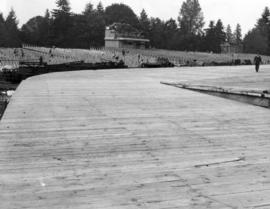 [Bleachers and a stage under construction at Brockton Point for Diamond Jubilee Celebrations]