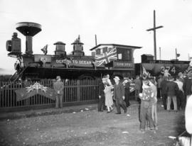[C.P.R. locomotive No. 374 decorated for 60th anniversary celebrations at Kitsilano Beach]