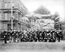 Drill Corps of Granville Lodge No. 3 K. of P. (Knights of Pythias) July 2nd 1888 Vancouver, B.C.