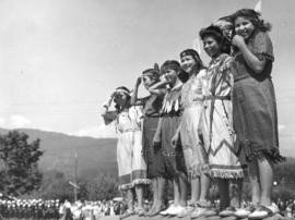 [Young First Nations women in costume for the Narvaez Pageant at Ambleside Park]