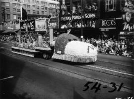 Marpole Majorettes float in 1954 P.N.E. Opening Day Parade
