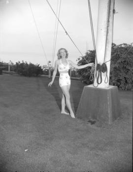 [Woman modeling a bathing suit on the Royal Vancouver Yacht Club grounds]