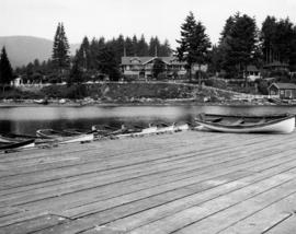 [Bowen Island Inn viewed from boating dock]