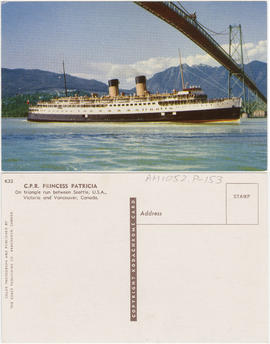 C.P.R. Princess Patricia[.] On triangle run between Seattle, U.S.A., Victoria and Vancouver, Canada.