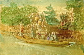 [View of people in a boat on a river]