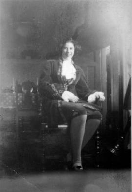 Marion Armstrong [sitting] inside 3500 Willow Street[, Vancouver, B.C.]