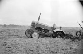 [Tractor stuck in muddy field near Fry's Corner in the Fraser Valley]