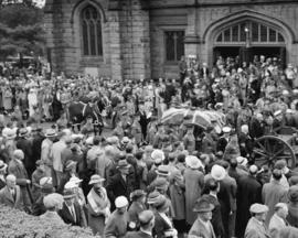 [Dean R.W.] Brock funeral procession [outside St. John's United Church at 1401 Comox Street]