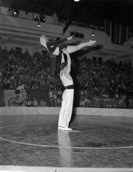 [Two gymnasts performing in front of an audience]
