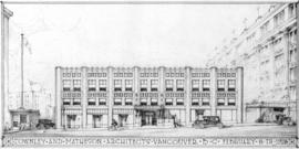 [Photograph of elevation drawing for a building at Georgia St. & Granville St., Vancouver B.C.]