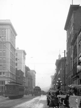 [View of Hastings Street, looking west from near Seymour Street]