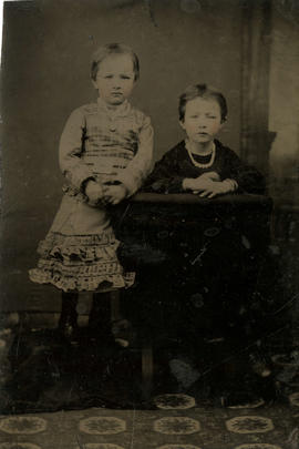 Portrait of two unidentified small girls