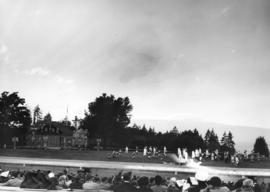 [View of a pageant to celebrate Vancouver's Diamond Jubilee at Brockton Point]