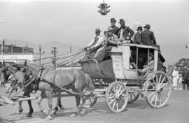 [B.C. Express Company stage coach in parade on Georgia Street]