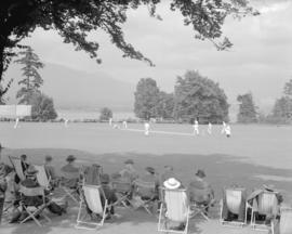 Cricket, Brockton Point vs. Burrard.  Terry Rivers, Bill Hendy and W. Kellock