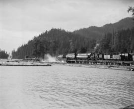 "Green Point Logging Co. Ltd. [""Shay"" locomotive working at log dump]"