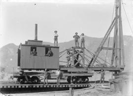 [Men with pile driving machinery on C.P.R. line at Sicamous]