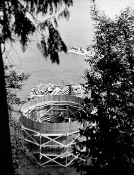 Construction of number two caisson framework from Prospect Point.  Bridge ferry-boat is seen head...