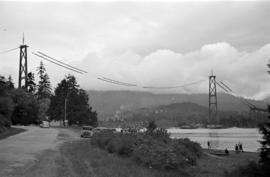 [View of the Lions Gate Bridge under construction]