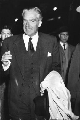 [The Right Honourable and Mrs. Anthony Eden at the airport]