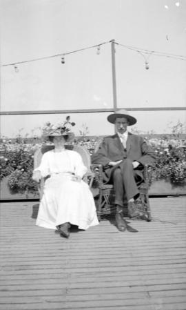 Mr. and Mrs. James L. Quiney on the roof garden of David Spencer Ltd. department store