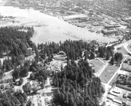 Aerial view of Malkin Bowl, Stanley Park and waterfront industries