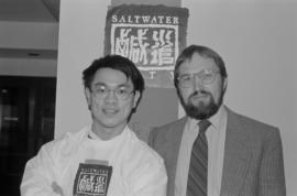 Poet Fred Wah and Paul Yee at the Saltwater City exhibit reading at the Chinese Cultural Centre