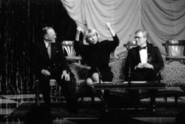 Hugh Pickett, Sheril Morton and Rex Downey on stage at the Arts Club