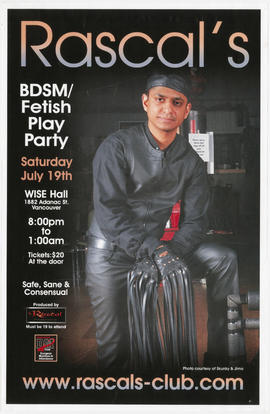 Rascal's BDSM/fetish play party : Saturday, July 19th : Wise Hall