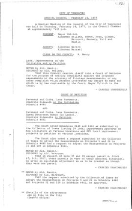 Special Council Meeting Minutes : Feb. 24, 1977