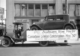 "[""Auburn Six"" automobile on truck for Canadian Legion give-away]"