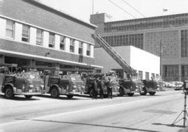 [View of new fire engines parked in front of Firehall No. 1, West Georgia at Hamilton]