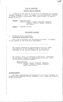 Council Meeting Minutes : Dec. 4, 1973